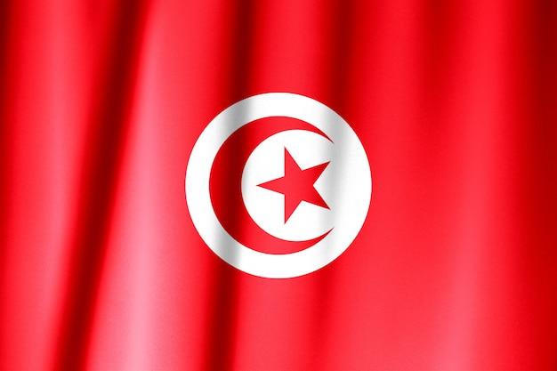 Agitant le drapeau de la tunisie. le drapeau a une vraie texture de tissu.