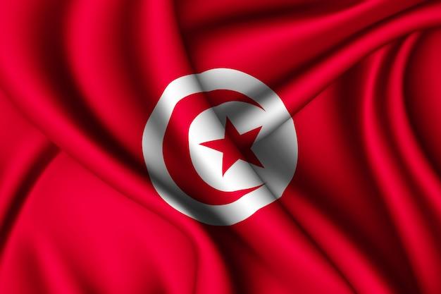 Agitant le drapeau de la tunisie en soie