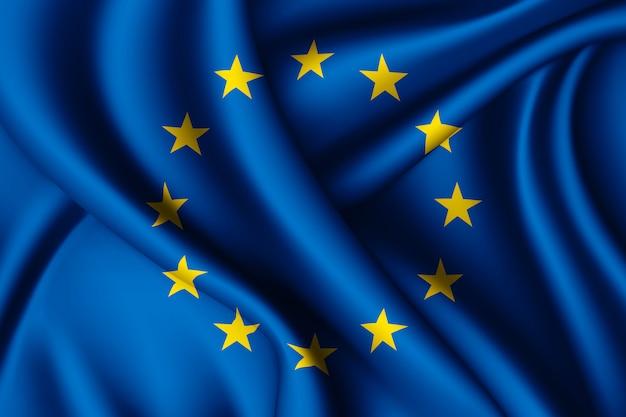 Agitant le drapeau de l'union européenne