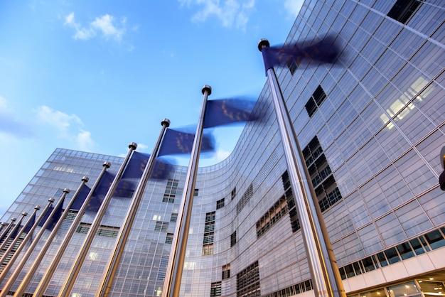 Agitant des drapeaux de l'union européenne