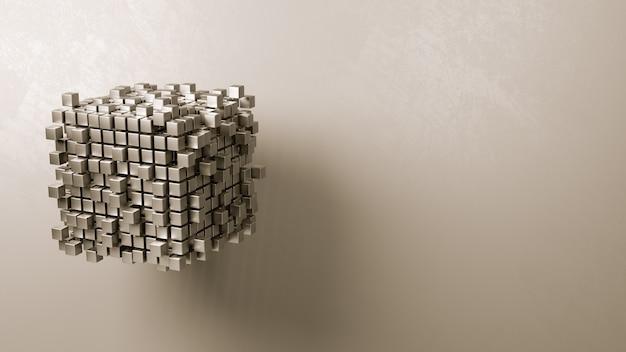 Agrégation de cubes sur fond gris