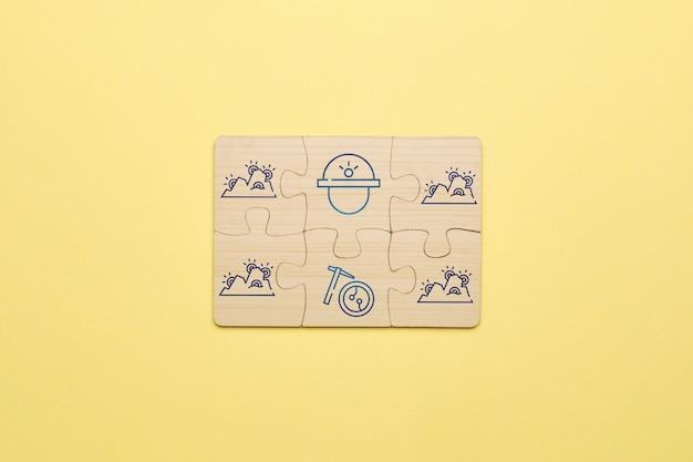 Agriculteur abstrait de crypto-monnaie de ferme de concept des icônes avec des puzzles.