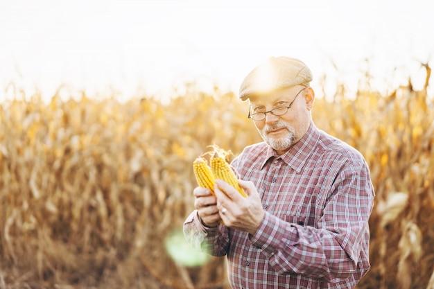 Agriculteur adulte vérifiant les plantes de sa ferme.
