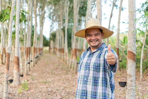Agriculteur agriculteur plantation d'hévéa
