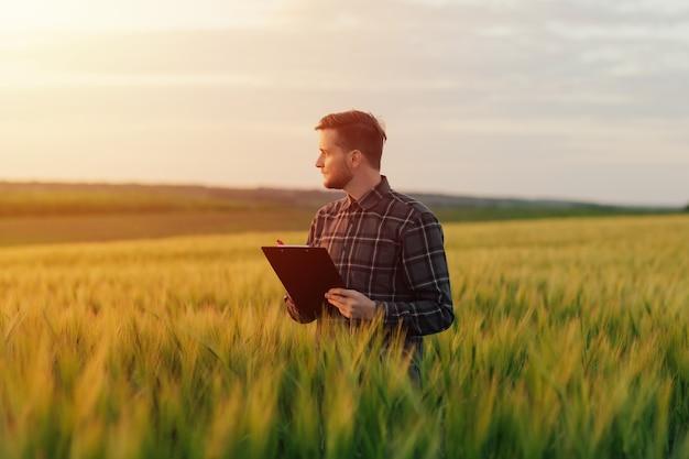 L'agriculteur contrôle son champ de blé et prend des notes dans le dossier