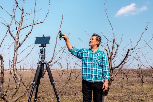 Agriculteur principal dirige un vlog dans le verger, agriculteur moderne à l'aide des médias sociaux f
