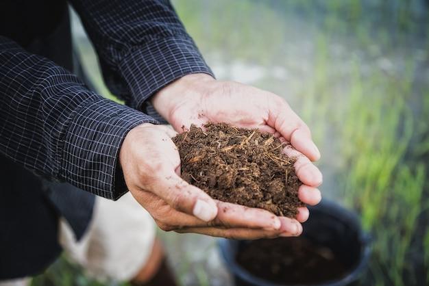 Les agriculteurs détiennent des engrais d'aigles pour semer dans les rizières