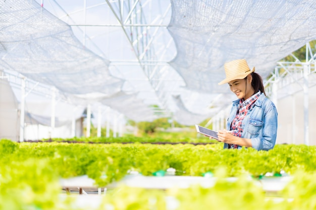 Les agriculteurs enregistrent des données sur des tablettes à la ferme de salades de légumes hydroponique.