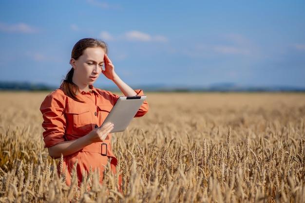 Agronome du caucase vérifiant le domaine des céréales et envoie des données au cloud à partir de la tablette