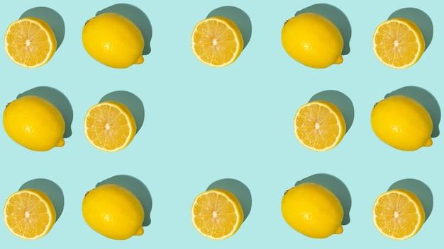 Agrumes frais seamles motifs fins fruits mûrs motif d'été tropical tendance fait avec une tranche de citron sur