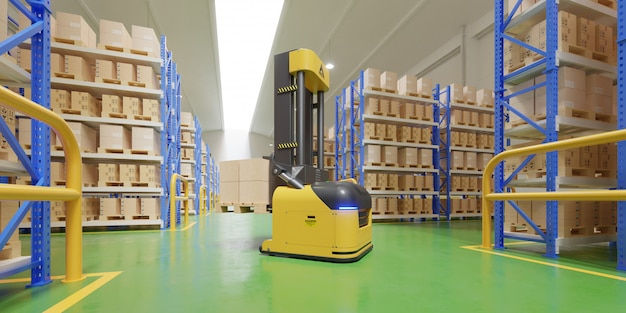 Agv forklift trucks-transport more with safety in warehouse.