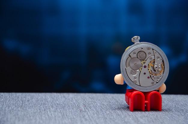 Aiguilles d'horloge de détail macro de machines de montre vintage