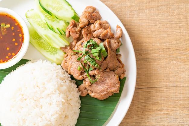 Ail de porc grillé avec riz avec sauce épicée à l'asiatique