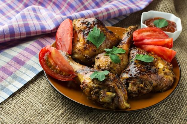 Ailes et cuisses de poulet rôties