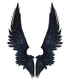 Ailes de démon de l'illustration 3d, plumage de l'aile noire isolé sur fond blanc