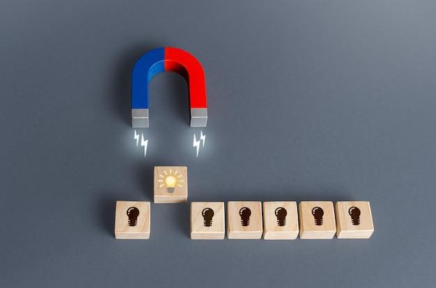 Un aimant attire une ampoule idée lumineuse le concept de choisir la meilleure idée parmi celles présentées