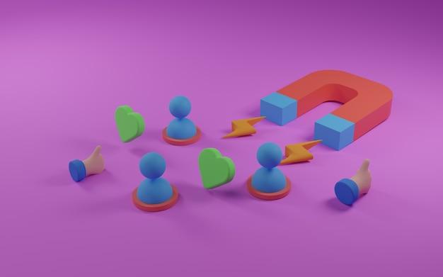 Aimant comme illustration 3d de stratégie marketing