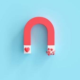 Aimant en forme de coeur, concept minimal de valentine idea. rendu 3d