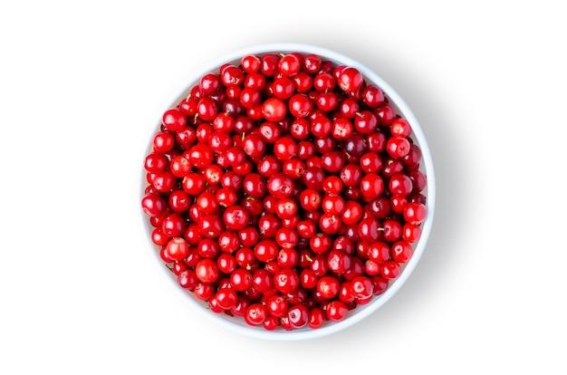 Airelle rouge ou airelle rouge ou airelle rouge ou airelle rouge. baies mûres dans une assiette blanche. isolé sur blanc