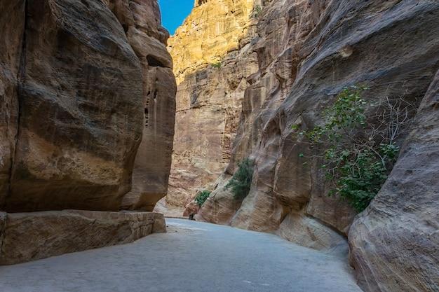 Al siq gorge dans la ville antique de petra, jordanie