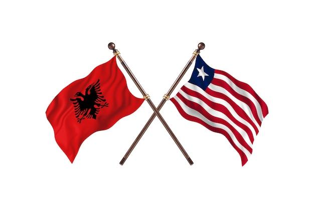 L'albanie contre le libéria deux drapeaux