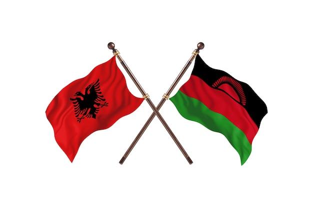 L'albanie contre le malawi deux drapeaux
