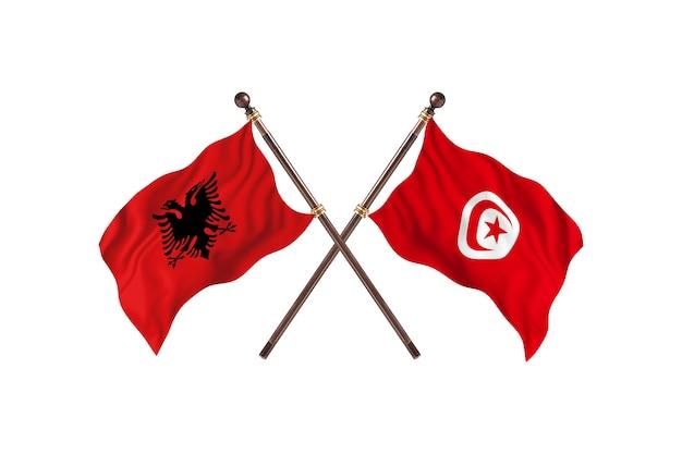 L'albanie contre la tunisie deux drapeaux