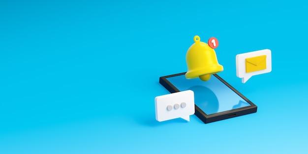 Alerte et alarme d'icône de cloche de message de notification sur fond bleu