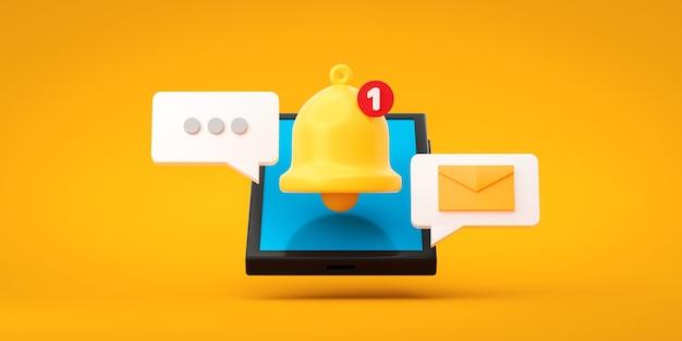 Alerte et alarme d'icône de message de notification sur fond jaune