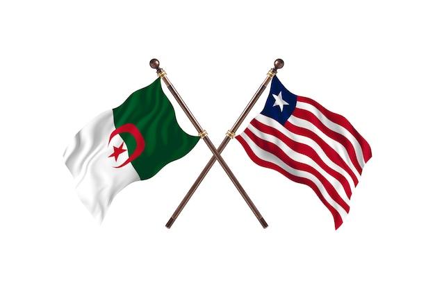 L'algérie contre le libéria deux drapeaux