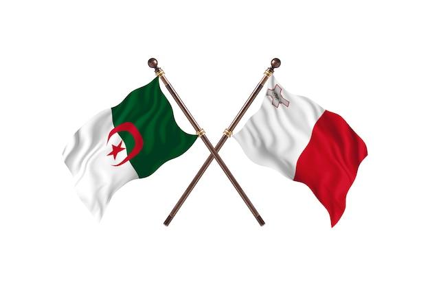 L'algérie contre malte deux drapeaux