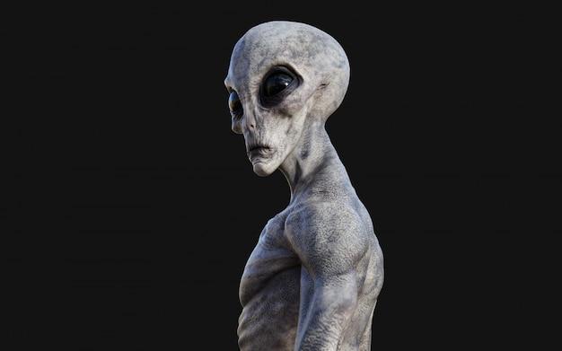 Alien sur fond noir avec un tracé de détourage.