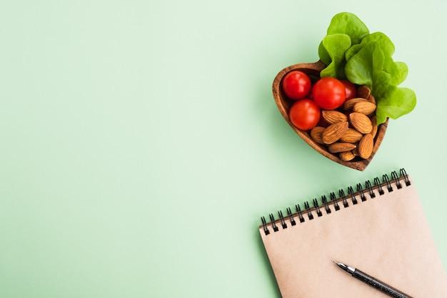 Une alimentation saine et un régime alimentaire. fond