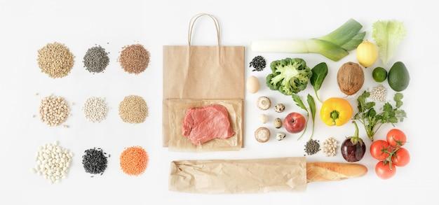 Alimentation saine vue de dessus sac en papier plein alimentation saine