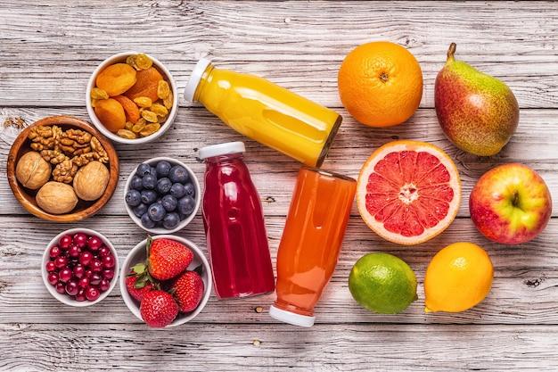 Aliments pour garder les poumons en bonne santé, vue de dessus.