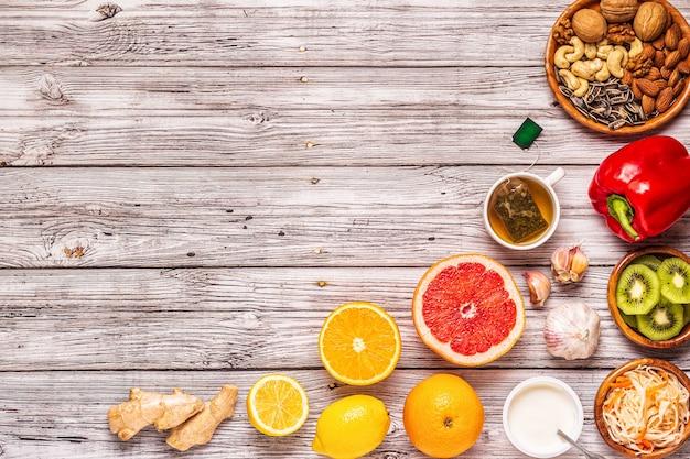 Aliments qui stimulent le système immunitaire, vue de dessus.