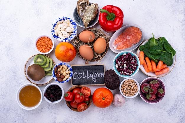Aliments riches en collagène produits sains