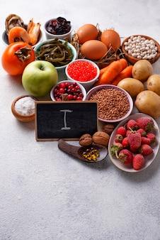 Aliments sains contenant de l'iode