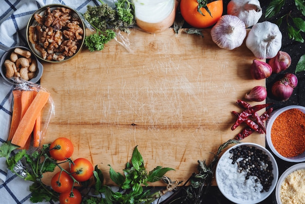 Aliments sains et fond d'ingrédients alimentaires