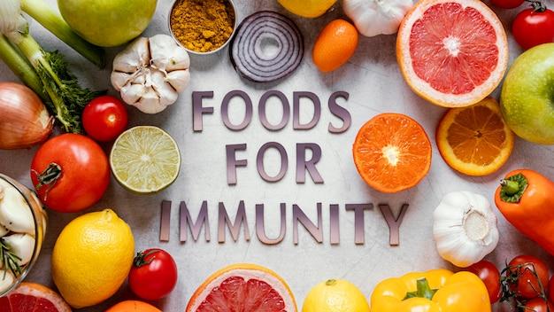 Aliments sains à plat pour une composition stimulant l'immunité