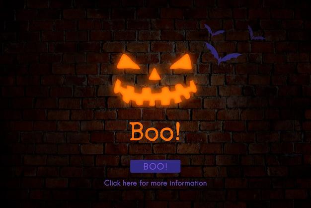 All saint's eve boo halloween icon concept