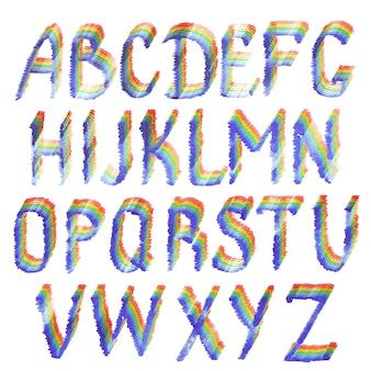 Alphabet arc-en-ciel. lettres de l'alphabet anglais violet, bleu, bleu clair, vert, jaune, orange et rouge dessinés à la main à l'aquarelle isolés sur fond blanc.