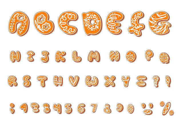 Alphabet de dessin animé de biscuits de pain d'épice d'alphabet de noël ou de nouvel an serti de glaçage. lettres texturées isolées sur fond blanc.