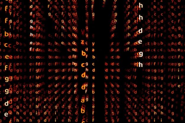 Alphabet dimension profonde ton alerte rouge fond de texte abstrait
