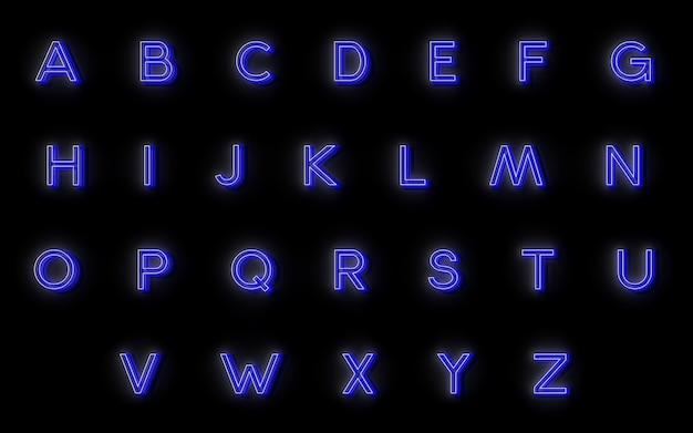 Alphabet néon. 24 lettres pour votre conception