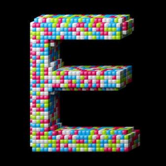 Alphabet pixelisé 3d. lettre e faite de cubes brillants isolés sur fond noir.