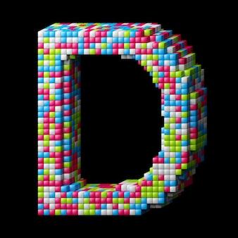 Alphabet pixelisé 3d. lettre d faite de cubes brillants isolés sur fond noir.