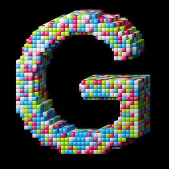 Alphabet pixelisé 3d. lettre g faite de cubes brillants isolés sur fond noir.