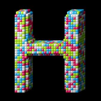 Alphabet pixelisé 3d. lettre h faite de cubes brillants isolés sur fond noir.
