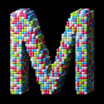 Alphabet pixelisé 3d. lettre m faite de cubes brillants isolés sur fond noir.